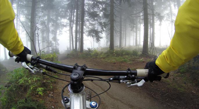 Skogsti sett fra terrengsykkelstyret