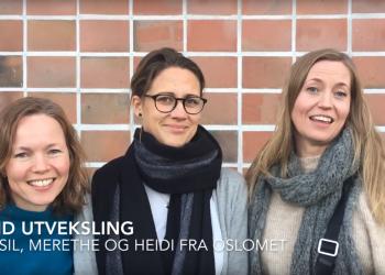 Sissel, Merethe og Heidi fra OsloMet forteller om sine utvekslingsopphold i USA (bilde fra video).